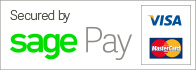 Secured by Sage Pay, Visa, Mastercard Logos